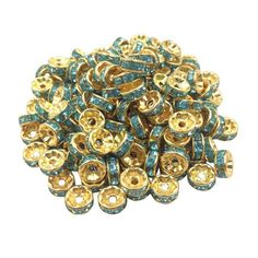 50 pcs/lot 8mm Gold plated Wheel Charm Loose Spacer Metal Beads for Jewelry DIY