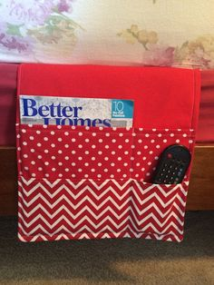 Bedside caddy / organizer Remote holder Red by thecraftiestcoop Bed Caddy, Bedside Caddy, Bedside Organizer, Bed Organiser, Pocket Organizer, Craft Items, Craft Gifts, Quilting Projects, Sewing Projects
