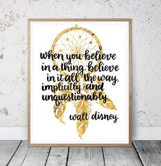 Inspirational Quote, Believe Printable Quotes, Instant Download, Motivational quote, Dreamcatcher print, Home decor, Wall art print by MSdesignart on Etsy
