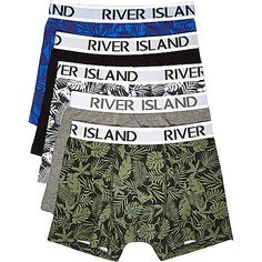 Stretch cotton fabric Improved fit Longer length Wider RI-branded waistband Featuring five pairs in a variety of leaf print patterns For hygiene reasons, underwear is non-refundable