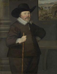 Anonymous   Portrait of a man, Anonymous, 1639   Portret van een man op 63-jarige leeftijd. Kniestuk, staande naar rechts met een stok in de rechterhand, de linkerhand in de zij. Op het hoofd een zwarte hoed met een brede rand. Op de achtergrond rechts door het venster een gezicht op huizen van een dorp gelegen aan een baai waarin een schip voor anker ligt. Tussen de huizen figuren en vogels.