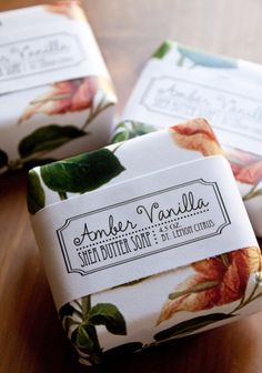 Amber Vanilla Shea Butter Soap by Lemon Citrus #design #packaging