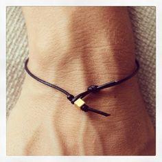 #Simple 01 #Gold #Bracelet #Leather #Black