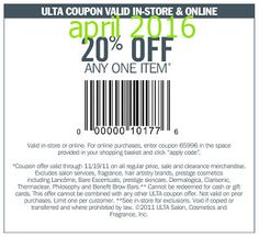 Ulta Coupons Ends of Coupon Promo Codes MAY 2020 !, store region in United Ulta as & in known a the it Salon, place this headqua. Free Printable Coupons, Free Coupons, Free Printables, Store Coupons, Grocery Coupons, Ulta Coupon, Dollar General Couponing, Coupons For Boyfriend, Coupon Stockpile