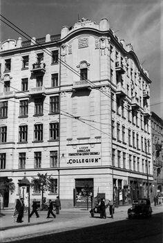 """Leszno 84 róg Żelazna 95 Liceum i Gimnazjum Towarzystwa Szkoły Średniej """"Collegium"""" fot. 1938r., źr. warszawa.ap.gov.pl / źr. Referat Gabarytów."""