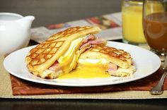Ham, egg and cheese waffle sandwich recipe