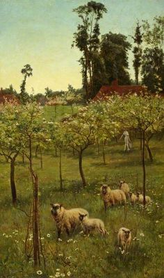 Sheep in an Orchard by Frederick Morgan