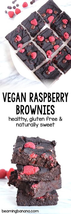 Rich, fudgy dark chocolate brownies swirled with tart red raspberries. These vegan raspberry brownies are healthy, gluten free, and naturally sweetened, but oh so decadent!