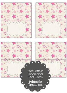 Vintage Pink Star Pattern Food Labels from PrintableTreats.com