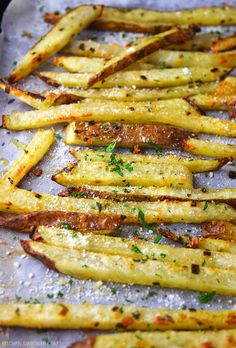 Crispy baked truffle fries seasoned with truffle oil, garlic, and fresh grated Parmesan cheese.
