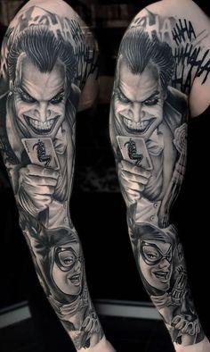 Realistic Black and Gray Joker Tattoo sleeve Design - Realistic Black and Gray . - Realistic Black and Gray Joker Tattoo sleeve Design – Realistic Black and Gray … – Realisti - Tattoos Arm Mann, Bad Tattoos, Arm Tattoos For Guys, Skull Tattoos, Half Sleeve Tattoos Designs, Arm Sleeve Tattoos, Forearm Tattoo Men, Trash Polka, Faux Locs Colored