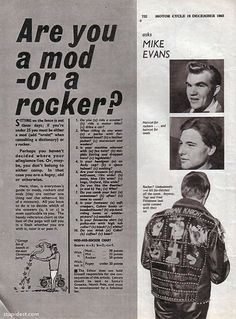 Are You a Mod or a Rocker?: Very Vital Quiz from 1963