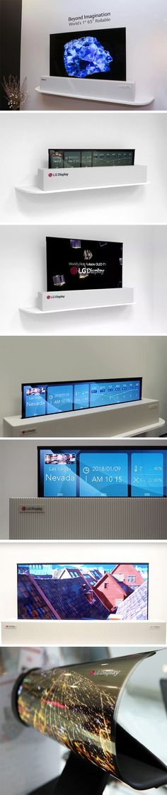 So the question is, how big must a TV be to be the biggest it should be? LG doesn't really have an answer to that question, but it has a solution. Flexible displays. LG's Rollable TV concept features a 65-inch mammoth of a screen that's actually as flexible as fabric (and as a result, super thin), as it rolls into a housing that's a fraction of its size.