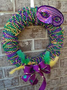 Mardi Gras Wreath Beaded Mardi Gras Wreath by TayandJaeCreations1