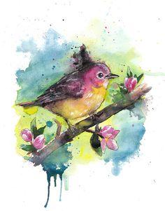 Watercolour birds sitting on branches with flowers Easy Watercolor, Watercolor Drawing, Watercolor Animals, Clematis Flower, Love Birds, Bird Art, Vintage Art, Illustration Art, Illustrations