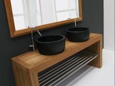 Деревянные столешницы для ванной комнатывыглядят красиво и солидно