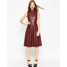 ASOS Midi Skater Dress in Leather Look with High Neck ($85) ❤ liked on Polyvore featuring dresses, oxblood, zip dress, asos, high neck skater dress, high neckline dress and asos dresses