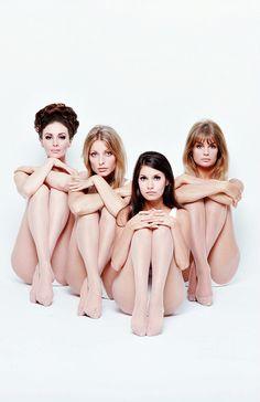 "camillejaval: "" ""Wilhelmina, Sharon Tate, Josephine Attominoff and Jean Shrimpton photographed by William Helburn, 1967. "" """