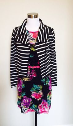 Stripes and floral, Kali Rose Boutique loves to mix prints.  Jacket and dress in store at Kali Rose Boutique.