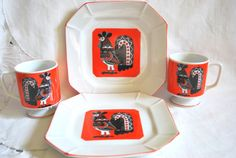 Vintage Set of Mugs with Plates Orange and by Dupasseaupresent #ALEXAMIGOS