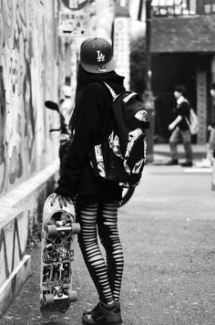 1000+ images about Skate project wardrobe inspiration on Pinterest | Punk Black Knee High Socks ...