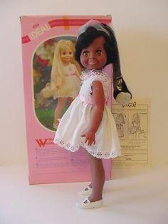 "15"" vintage Ideal African American Black Crissy Velvet Doll Grow Hair w Box"