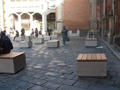 Benches in Bologna #italy #stone #timber #history #placemaking