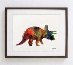 Dinosaur - Watercolor Art Print - Triceratops Dinosaur - Silhouette Minimalist Art - 8 x 10 Print - Children's Wall Art, Wall Decor
