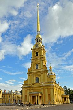 PETER AND PAUL CATHEDRAL.- St Petersburg, Russia - the burial place of nearly all the Russian Emperors and Empresses from Peter the Great to Alexander III. Located inside the walls of the Peter & Paul Fortress it was the first church in the city to be built of stone (between 1712-33) (photo by archer10 (Dennis), via Flickr)
