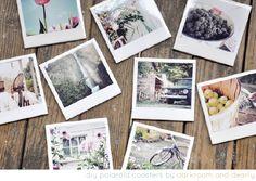 make your own polaroid coasters. White tiles. Photos. Glue. Clear acrylic spray.