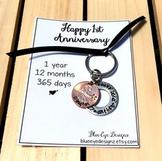 For him - 1st Anniversary - First Anniversary - 1st Year - First Year - Hand Stamped - Last Name / Initials -  1 year 365 days 12 months by BlueEyeDesignz on Etsy