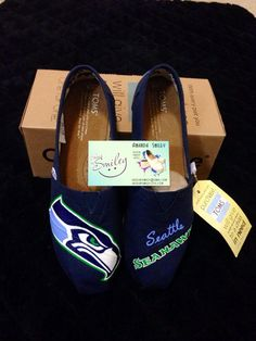 Seattle Seahawks hand painted Toms/Converse/Vans by ShoesBySmiley, $140.00 For the Wife