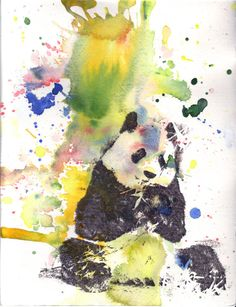 """Panda Art Animal Watercolor Painting Poster Print 13x19"""" Poster Great Children Kids Wall Art and For Ever Pands Lover"""