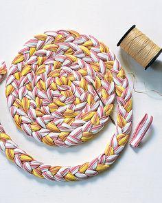 Homemade Braided Trivets (pot holders).  Idea originally found here: http://www.marthastewart.com/how-to/dye-fabric-to-make-braided-trivets?center=276964=356413=194881#slide_0