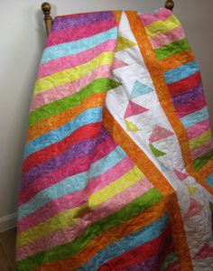 Modern Patchwork Lap Quilt Spring Colors Chic Bright by SallyManke Batik Quilts, Jellyroll Quilts, Lap Quilts, Patchwork Patterns, Quilting Patterns, Quilting Ideas, Picnic Quilt, Quilts For Sale, Feather Design