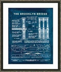 Brooklyn bridge blueprints print vintage by firstclassdesignco awesome brooklyn bridge blueprint diagram malvernweather Gallery