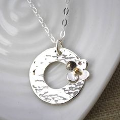 Personalised Silver Disc With Daisy Pendant