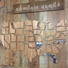This beautifully crafted wooden map of the United States is a perfect way to showcase the memories youve made throughout your travels. Includes all 50 states. 38 x thick finished plywood. DOES NOT include adventure signs or backdrop.
