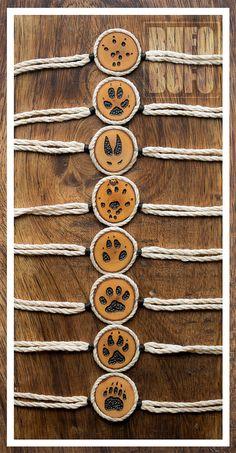 Power Animal Pawprint BRACELET // Burned Wood  // Shamanic Totemic Jewelry…