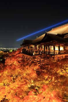 lifeisverybeautiful:  Kiyomizu Temple Kyoto Japan via 燃え上がる京の舞台 | PHOTOHITO Autumn Leaves
