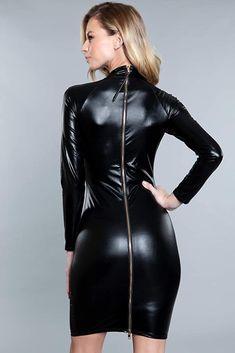 Wet Look Dress, Leather Dresses, Leather Outfits, Leather Skirts, Black Long Sleeve Dress, Dress Black, Metallic Dress, Dominatrix, Sexy Dresses