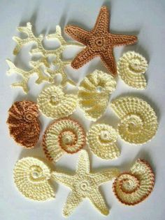 ⭐  Aplique de Estrela do Mar, Caranguejo, Ostra, Caracol em Crochê - / ⭐  Apply to Crab, Starfish, Oyster, Snail upon Crocheting -