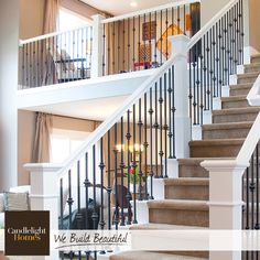 This Elegant Staircase Is Perfect For Your Grand Entrance.  #CandlelightHomesu2026 Wrought Iron Stair