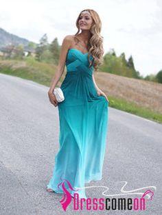 A-line Sweetheart Ombre Prom Dress,2014 Prom Dresses, Long Chiffon Cheap Ombre Evening Dress,Ombre Bridesmaid Dresses CBD001