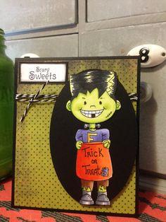 Digital Halloween Stamp Frankie by DianasDigitals on Etsy, $2.50