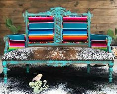 Desert Canary - Western Home Decor Living Room Western Furniture, Funky Furniture, Furniture Makeover, Painted Furniture, Cabin Furniture, Rustic Furniture, Cowhide Furniture, Furniture Design, Southwestern Decorating