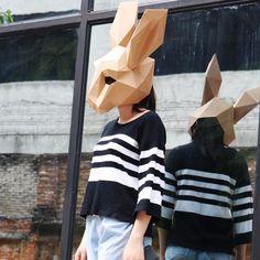Paper Mask, 3d Paper, Paper Crafts, Rabbit Head, Head Mask, Diy Molding, Animal Heads, Color Khaki, Horse Head