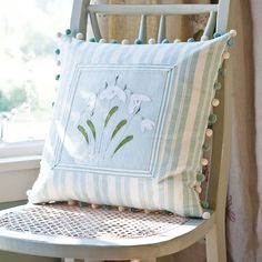 Flower Cushion - Duck Egg/Framed Snowdrop | Susie Watson Designs