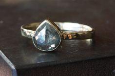 Grey Heart Rose Cut Diamond RIng in 14kt Yellow Gold- engagement ring, wedding ring, unusual diamond ring, natural diamond, bezel hammered