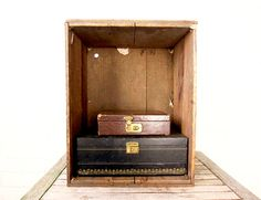 Vintage Rustic Wood Box - Antique Wooden Crate - Corned Beef Shabby Chic Decor